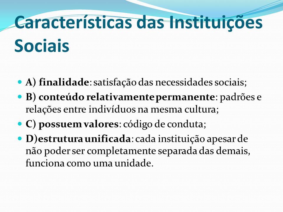 Características das Instituições Sociais