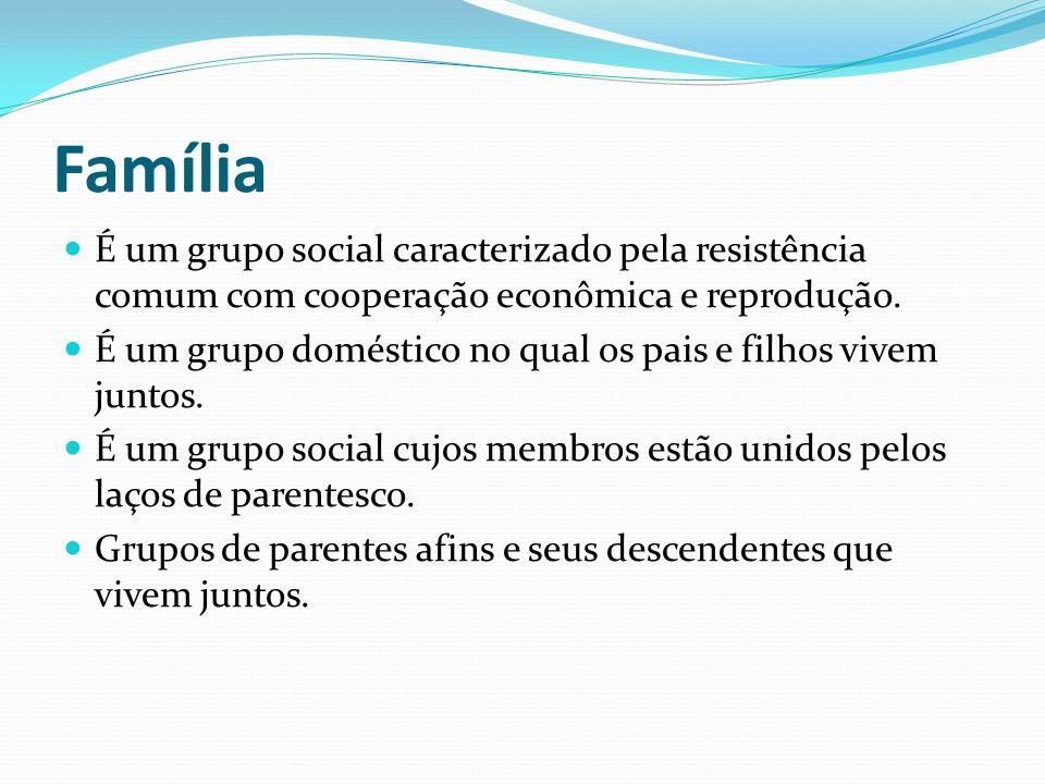 Família É um grupo social caracterizado pela resistência comum com cooperação econômica e reprodução.