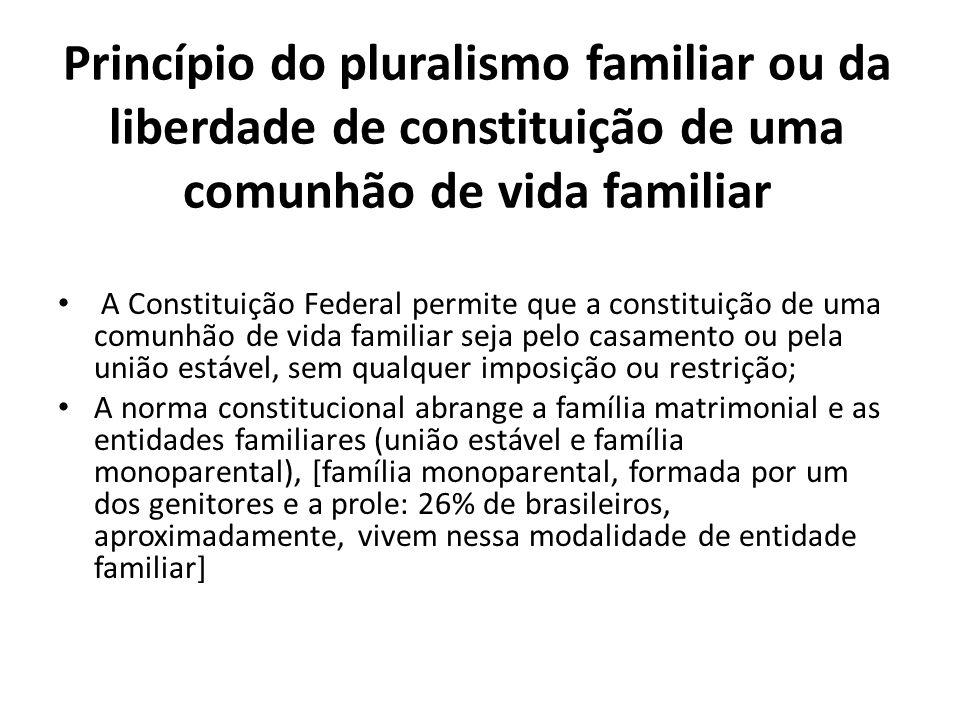 Princípio do pluralismo familiar ou da liberdade de constituição de uma comunhão de vida familiar