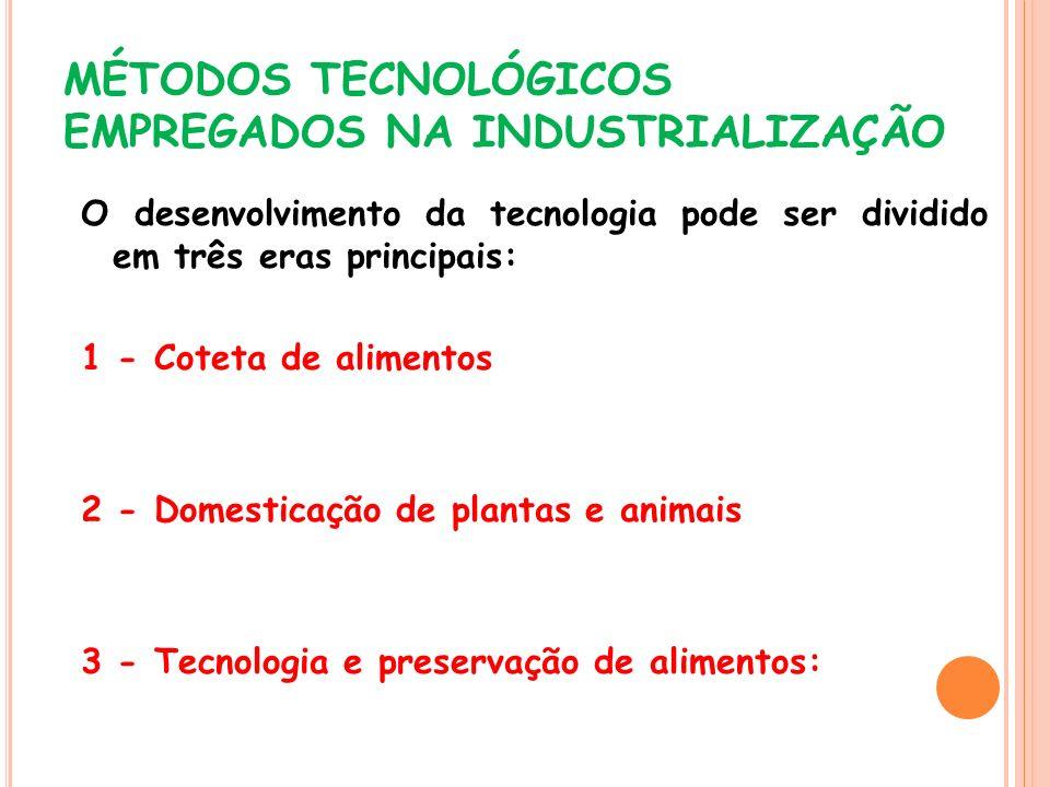 MÉTODOS TECNOLÓGICOS EMPREGADOS NA INDUSTRIALIZAÇÃO