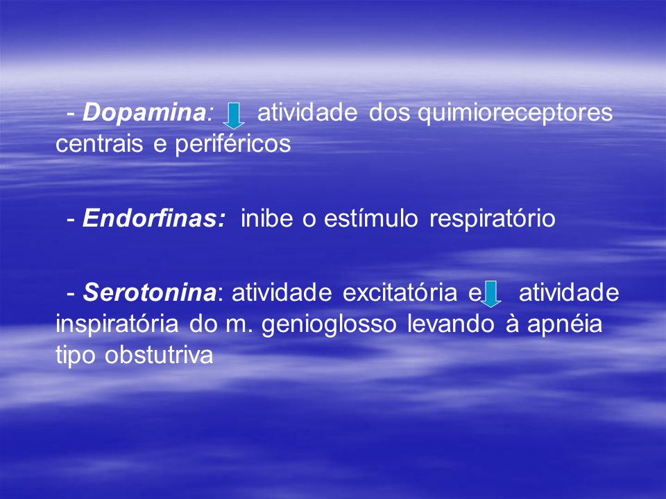 - Dopamina: atividade dos quimioreceptores centrais e periféricos