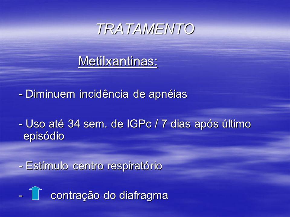 TRATAMENTO Metilxantinas: - Diminuem incidência de apnéias