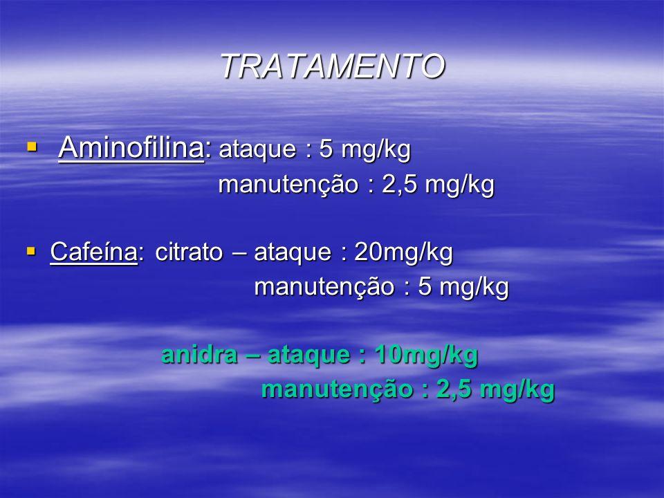 TRATAMENTO Aminofilina: ataque : 5 mg/kg manutenção : 2,5 mg/kg