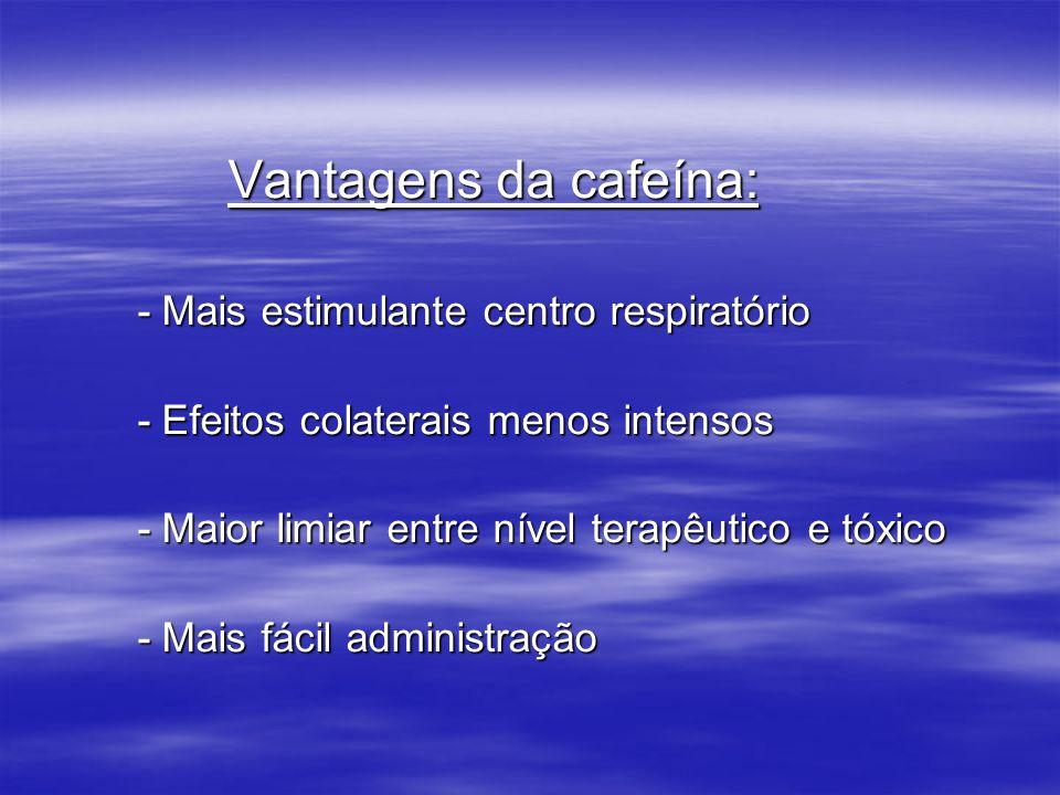 Vantagens da cafeína:- Mais estimulante centro respiratório. - Efeitos colaterais menos intensos. - Maior limiar entre nível terapêutico e tóxico.