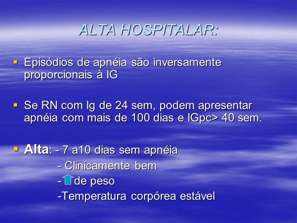 ALTA HOSPITALAR: Alta: - 7 a10 dias sem apnéia