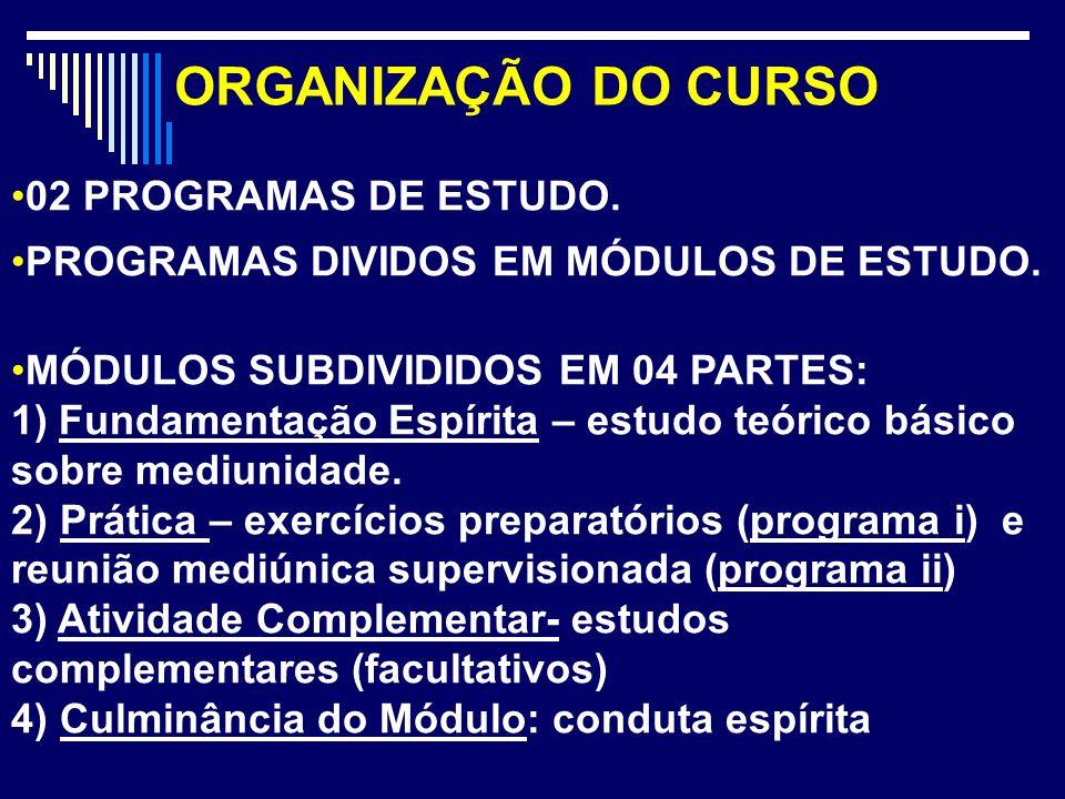 ORGANIZAÇÃO DO CURSO 02 PROGRAMAS DE ESTUDO.