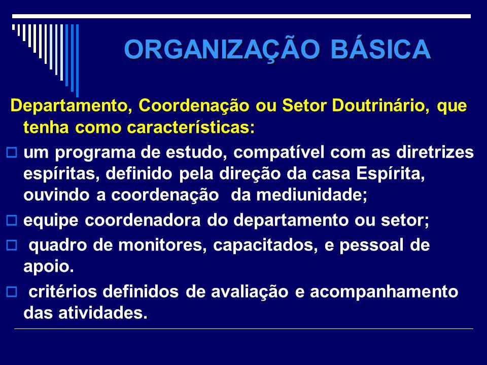 ORGANIZAÇÃO BÁSICA Departamento, Coordenação ou Setor Doutrinário, que tenha como características: