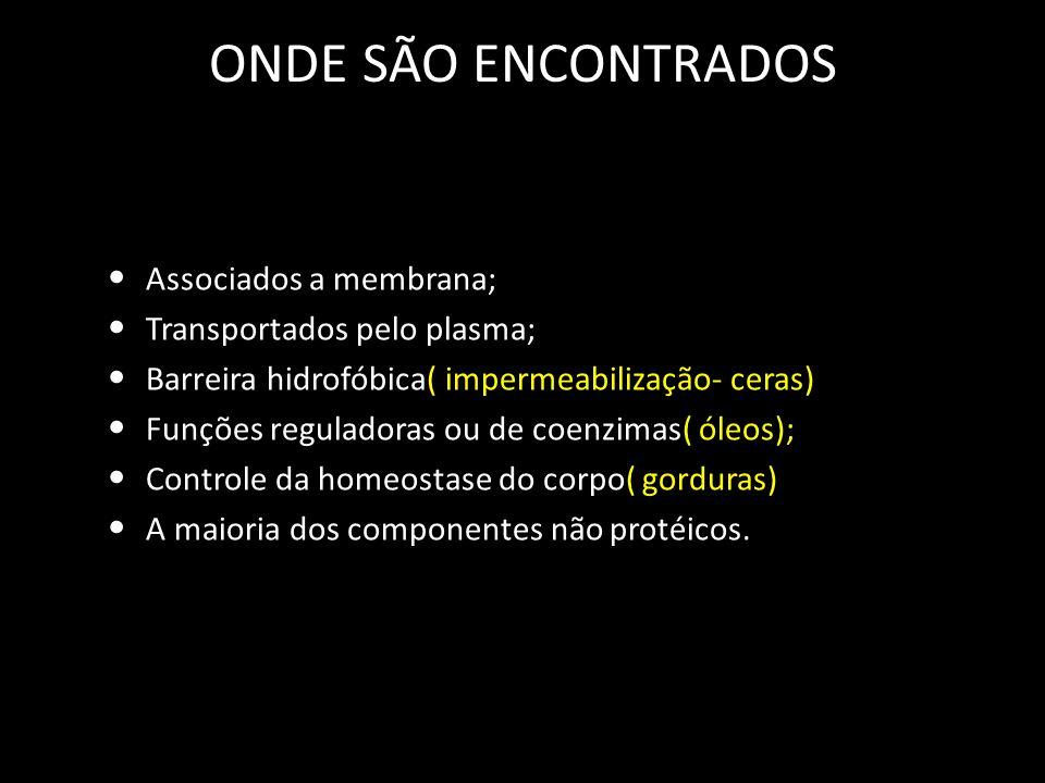 ONDE SÃO ENCONTRADOS Associados a membrana; Transportados pelo plasma;