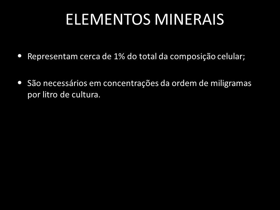 ELEMENTOS MINERAIS Representam cerca de 1% do total da composição celular;