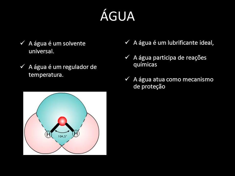 ÁGUA A água é um solvente universal.