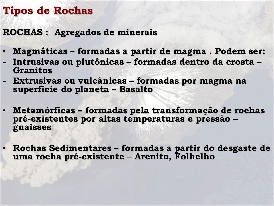 Tipos de Rochas ROCHAS : Agregados de minerais