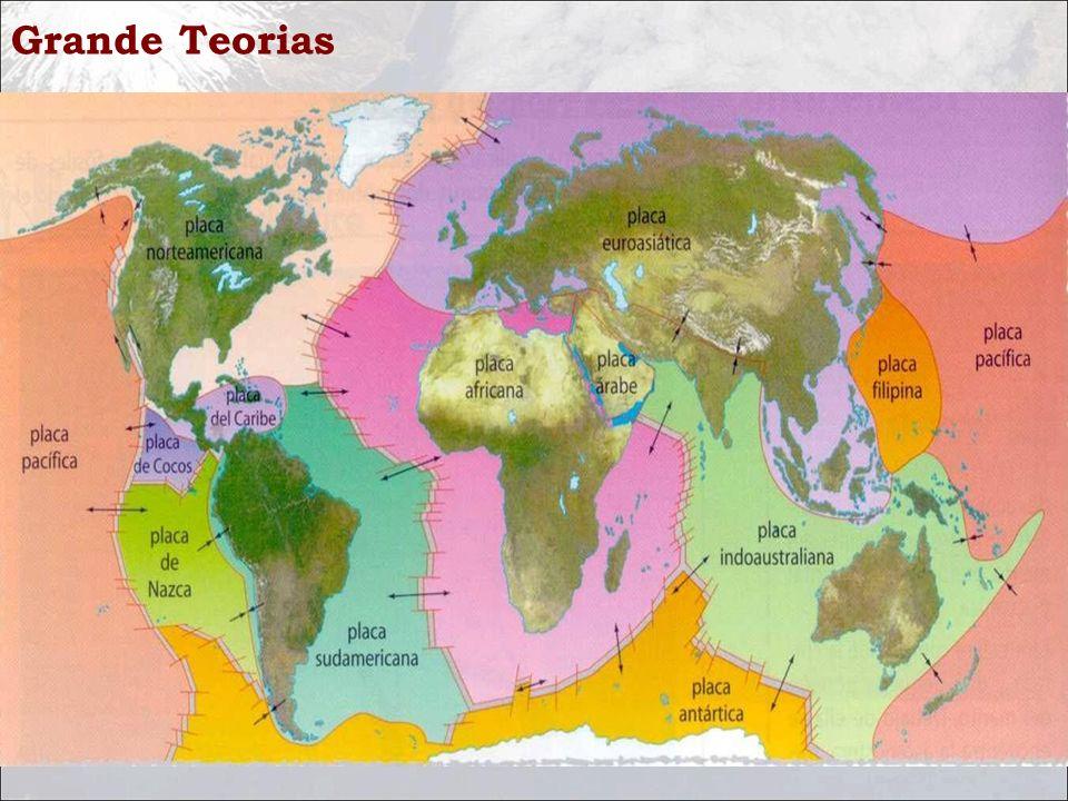 Grande Teorias Uma placa tectônica é uma porção da litosfera limitada por zonas de convergência, zonas de subdução e zonas conservativas.