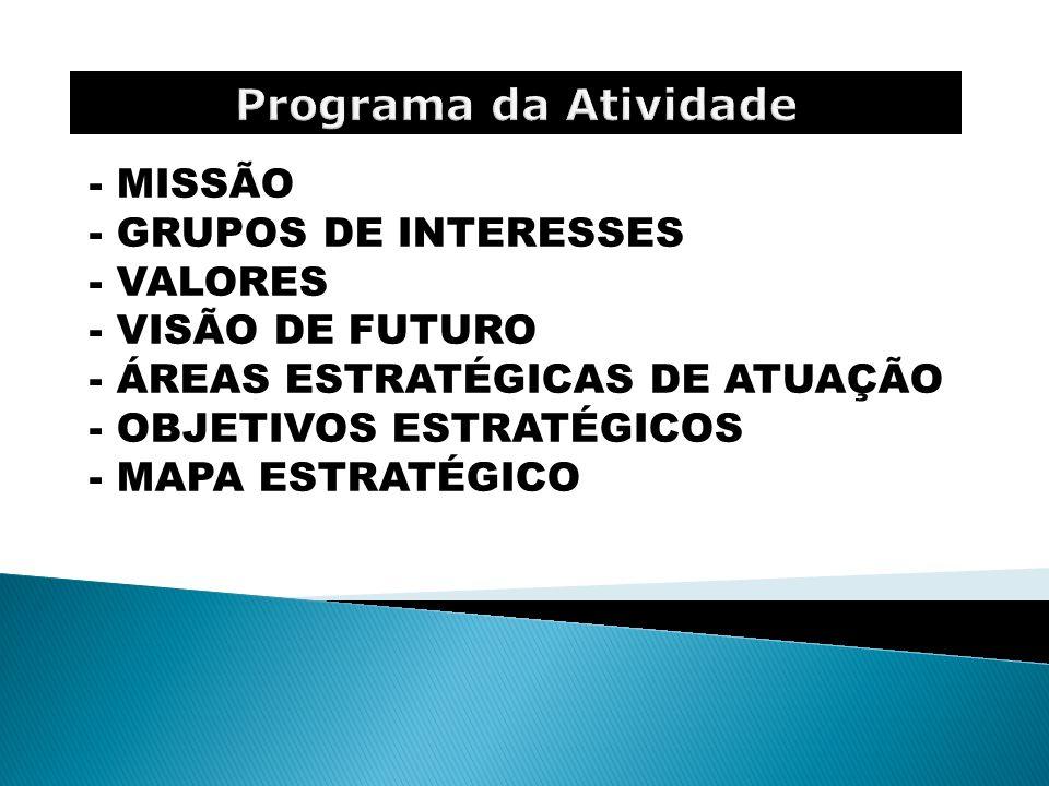 Programa da Atividade MISSÃO GRUPOS DE INTERESSES VALORES