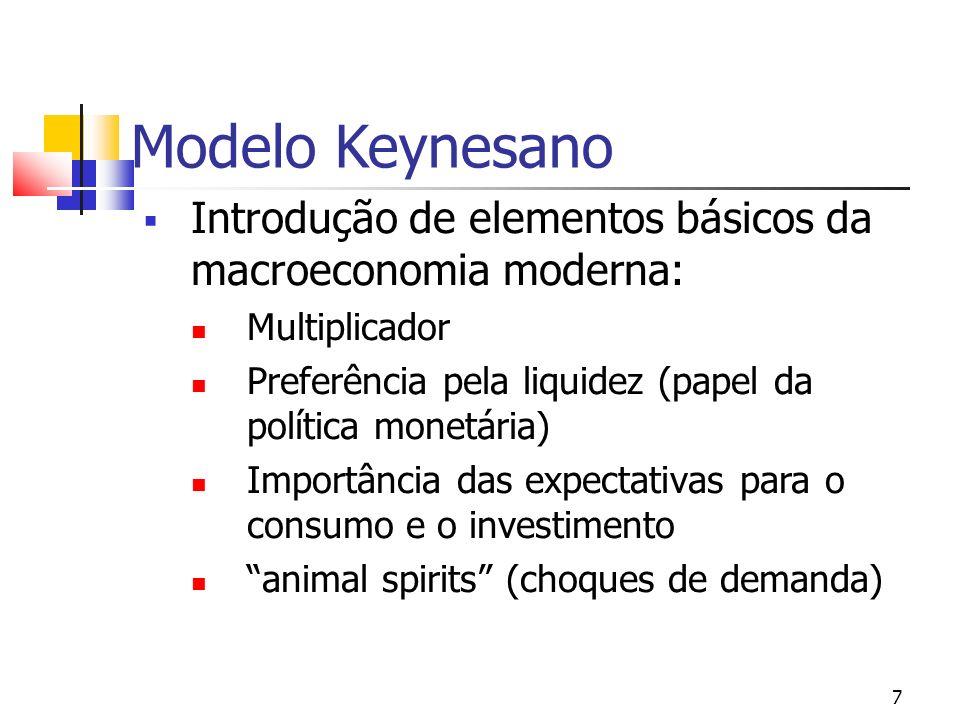 Modelo Keynesano Introdução de elementos básicos da macroeconomia moderna: Multiplicador. Preferência pela liquidez (papel da política monetária)
