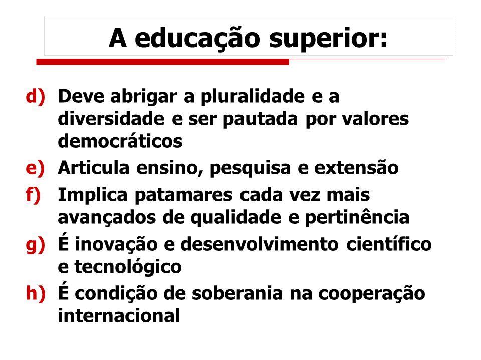 A educação superior: Deve abrigar a pluralidade e a diversidade e ser pautada por valores democráticos.