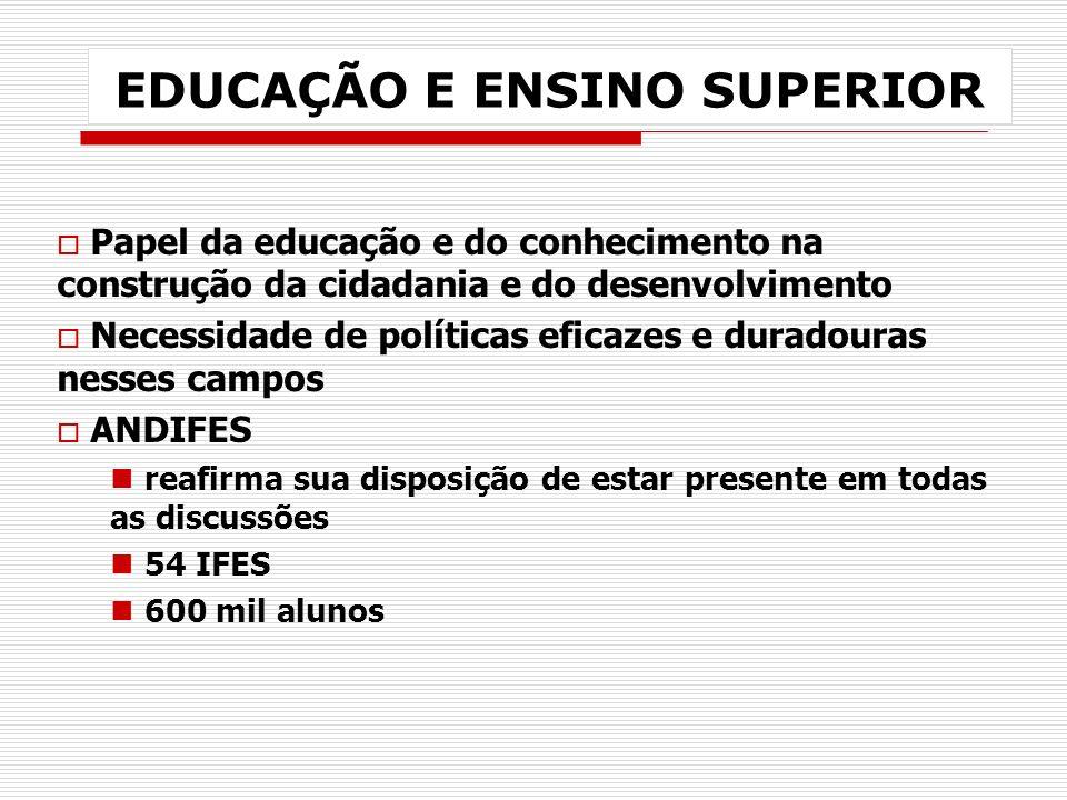 EDUCAÇÃO E ENSINO SUPERIOR