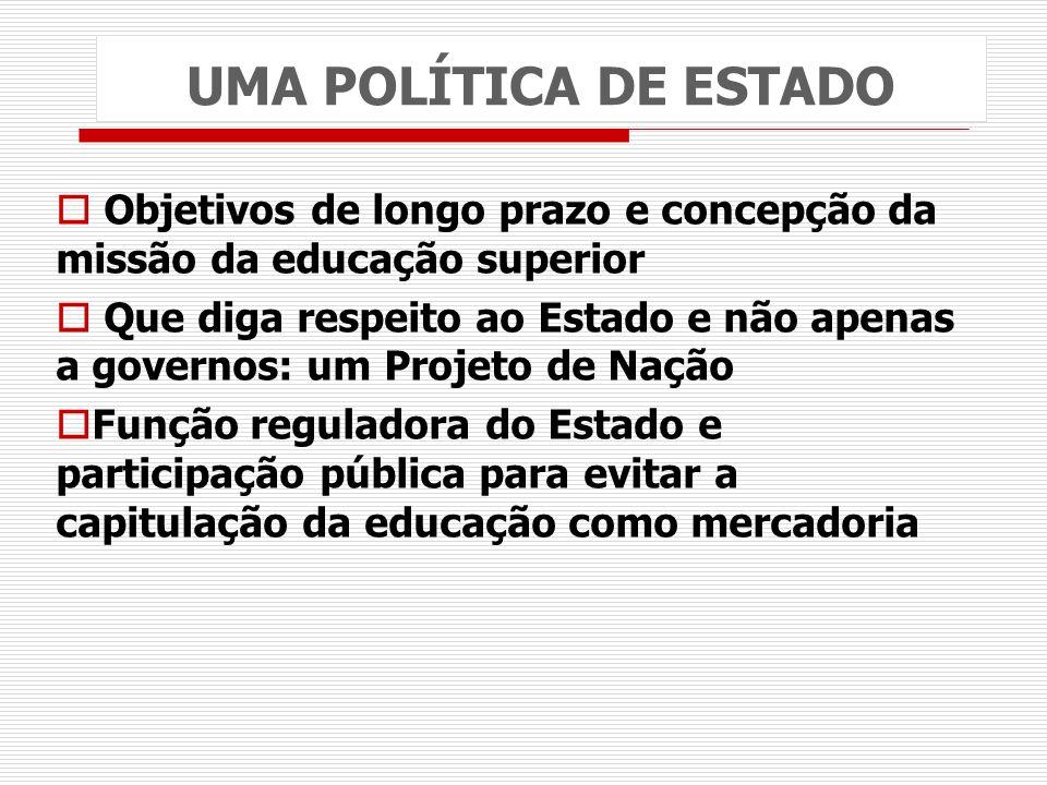 UMA POLÍTICA DE ESTADO Objetivos de longo prazo e concepção da missão da educação superior.