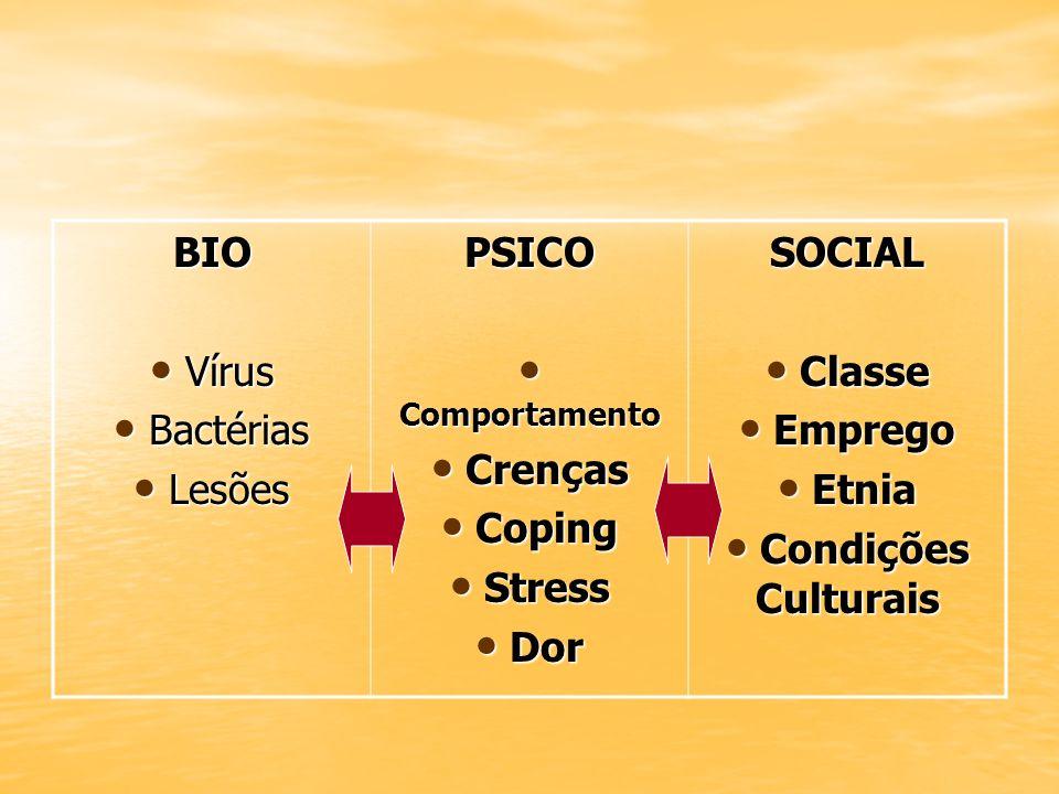 BIO Vírus. Bactérias. Lesões. PSICO. Comportamento. Crenças. Coping. Stress. Dor. SOCIAL. Classe.