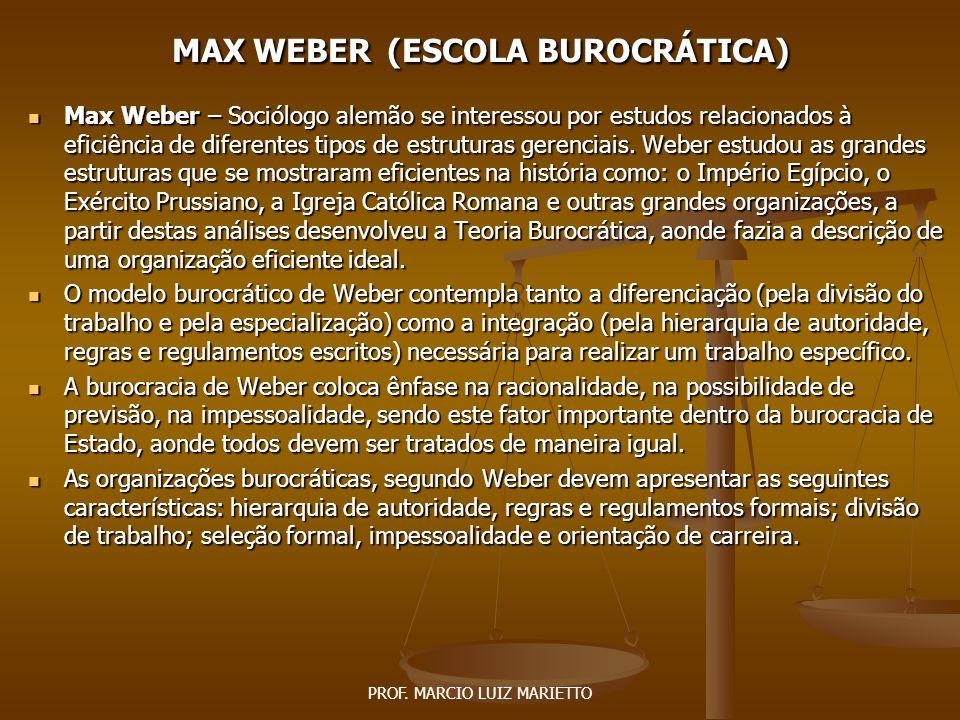 MAX WEBER (ESCOLA BUROCRÁTICA)