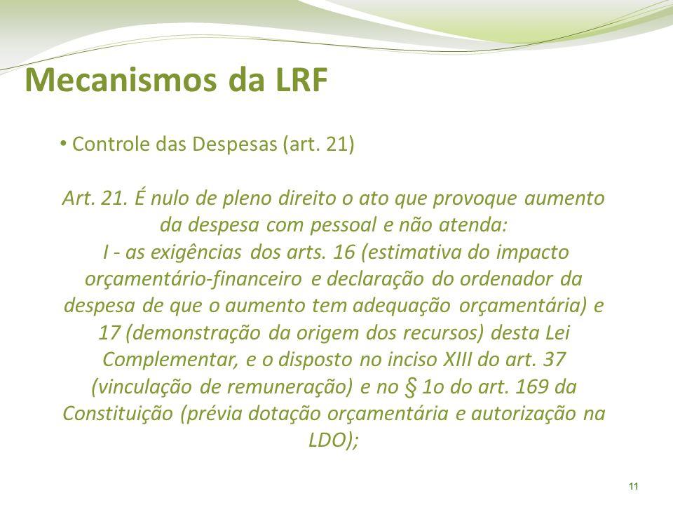 Mecanismos da LRF Controle das Despesas (art. 21)