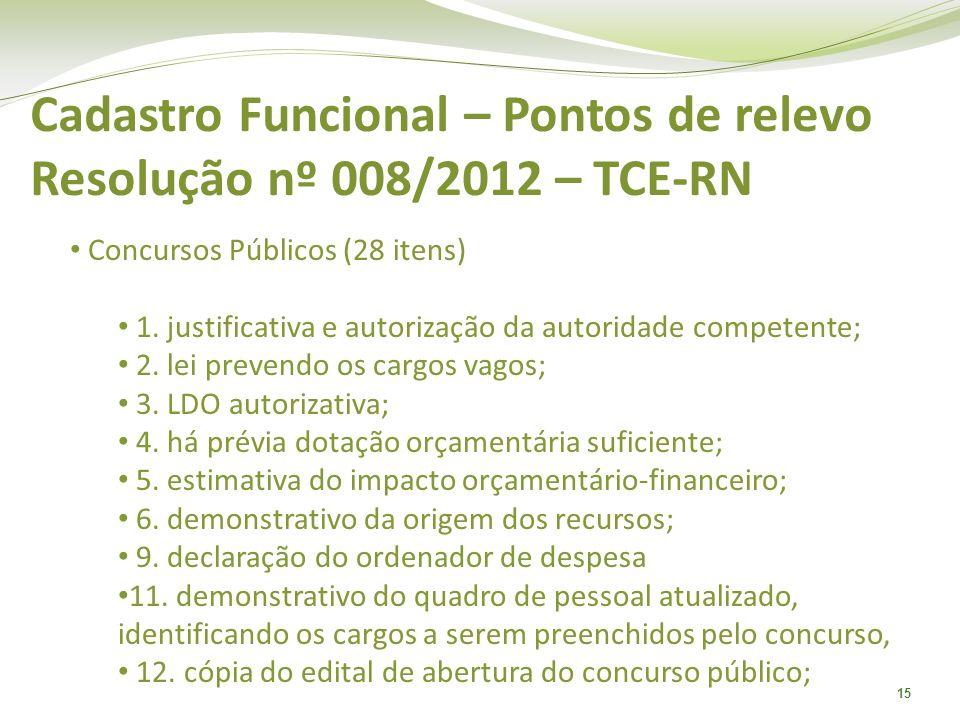 Cadastro Funcional – Pontos de relevo Resolução nº 008/2012 – TCE-RN