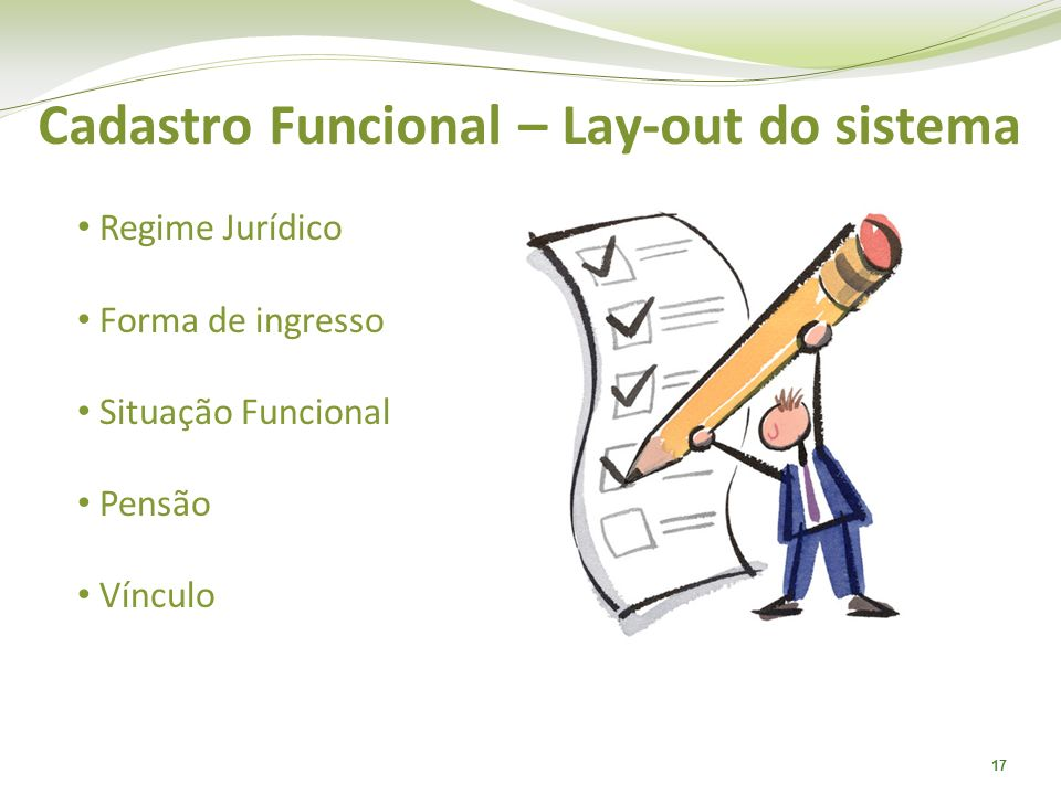 Cadastro Funcional – Lay-out do sistema