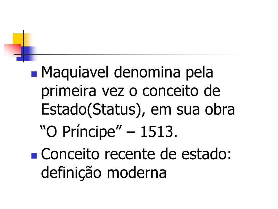 Maquiavel denomina pela primeira vez o conceito de Estado(Status), em sua obra