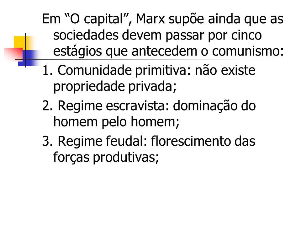 Em O capital , Marx supõe ainda que as sociedades devem passar por cinco estágios que antecedem o comunismo: