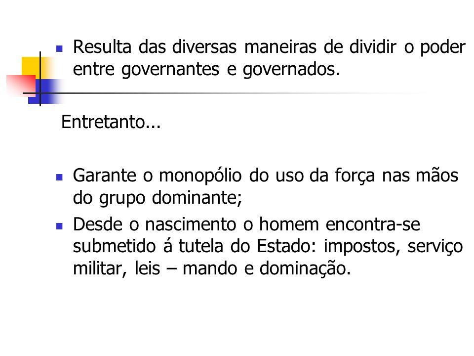 Resulta das diversas maneiras de dividir o poder entre governantes e governados.