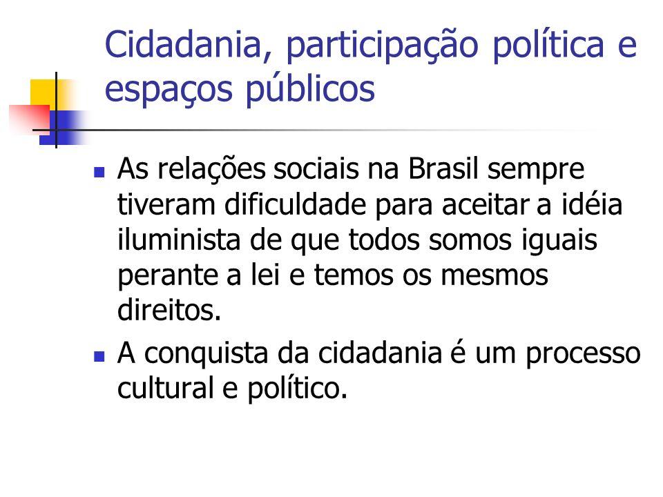 Cidadania, participação política e espaços públicos