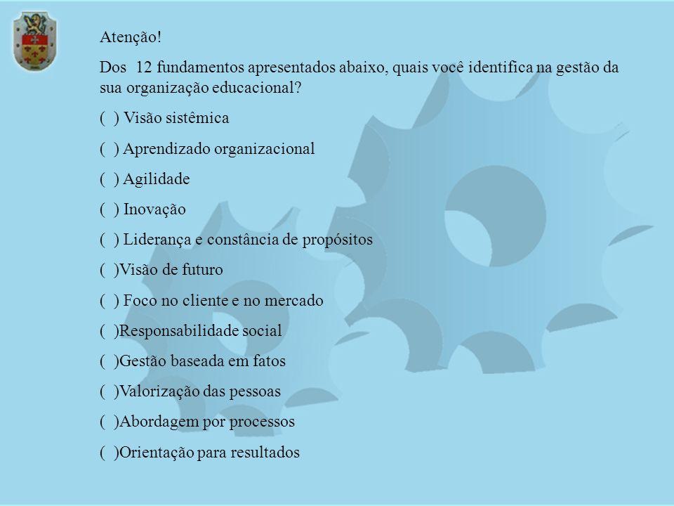 Atenção! Dos 12 fundamentos apresentados abaixo, quais você identifica na gestão da sua organização educacional