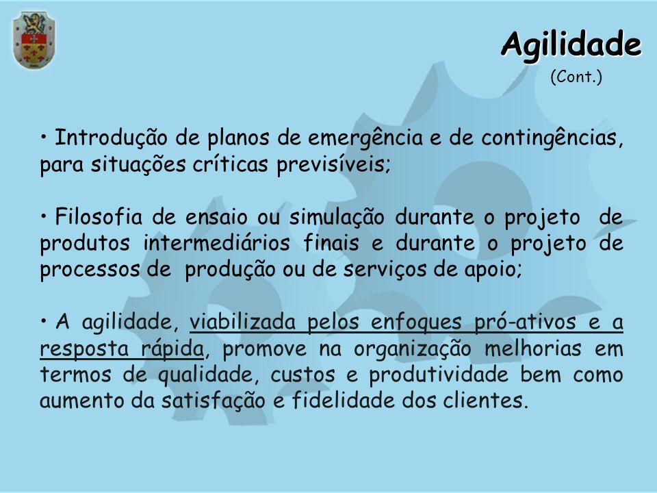 Agilidade(Cont.) Introdução de planos de emergência e de contingências, para situações críticas previsíveis;