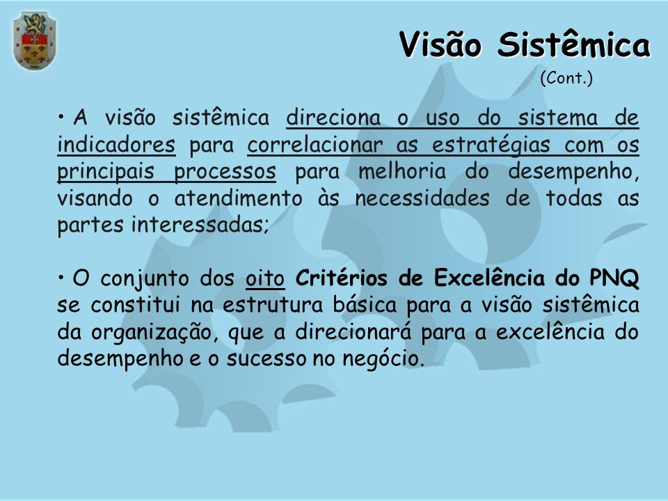 Visão Sistêmica (Cont.)