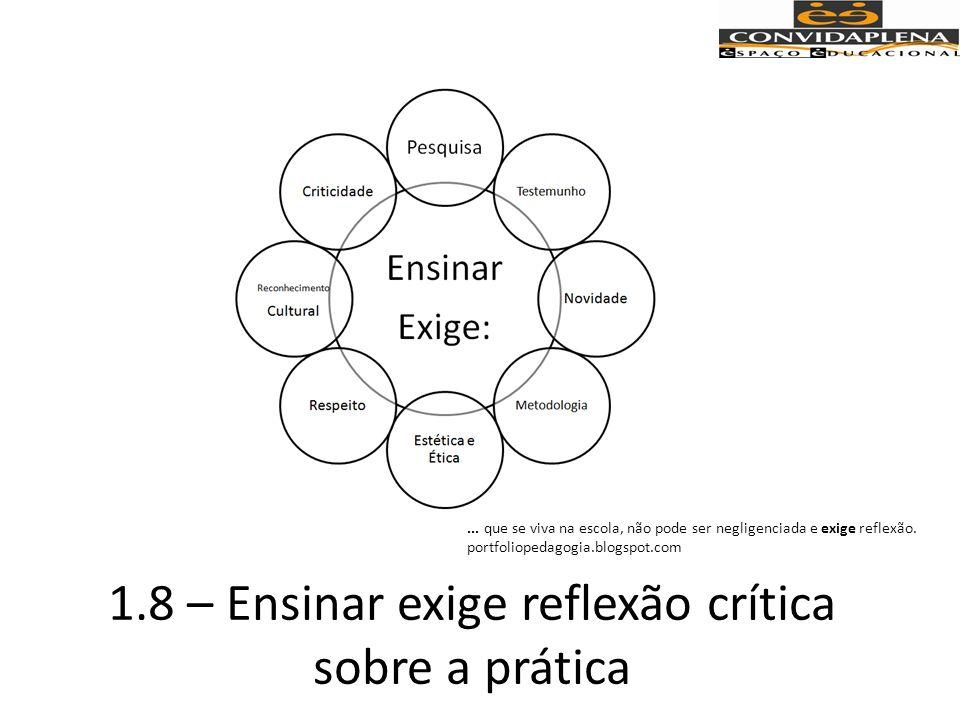 1.8 – Ensinar exige reflexão crítica sobre a prática