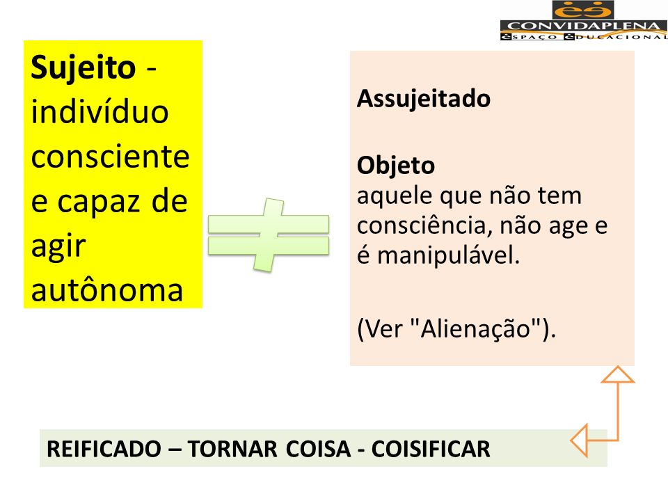 REIFICADO – TORNAR COISA - COISIFICAR