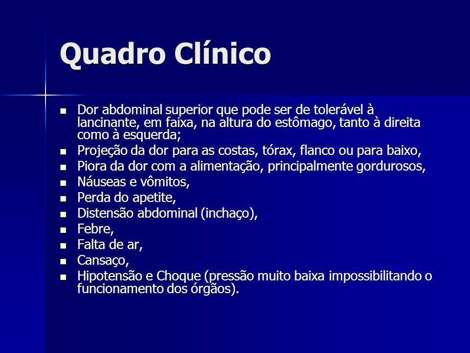 Quadro Clínico Dor abdominal superior que pode ser de tolerável à lancinante, em faixa, na altura do estômago, tanto à direita como à esquerda;