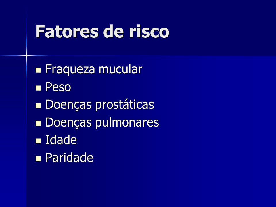 Fatores de risco Fraqueza mucular Peso Doenças prostáticas