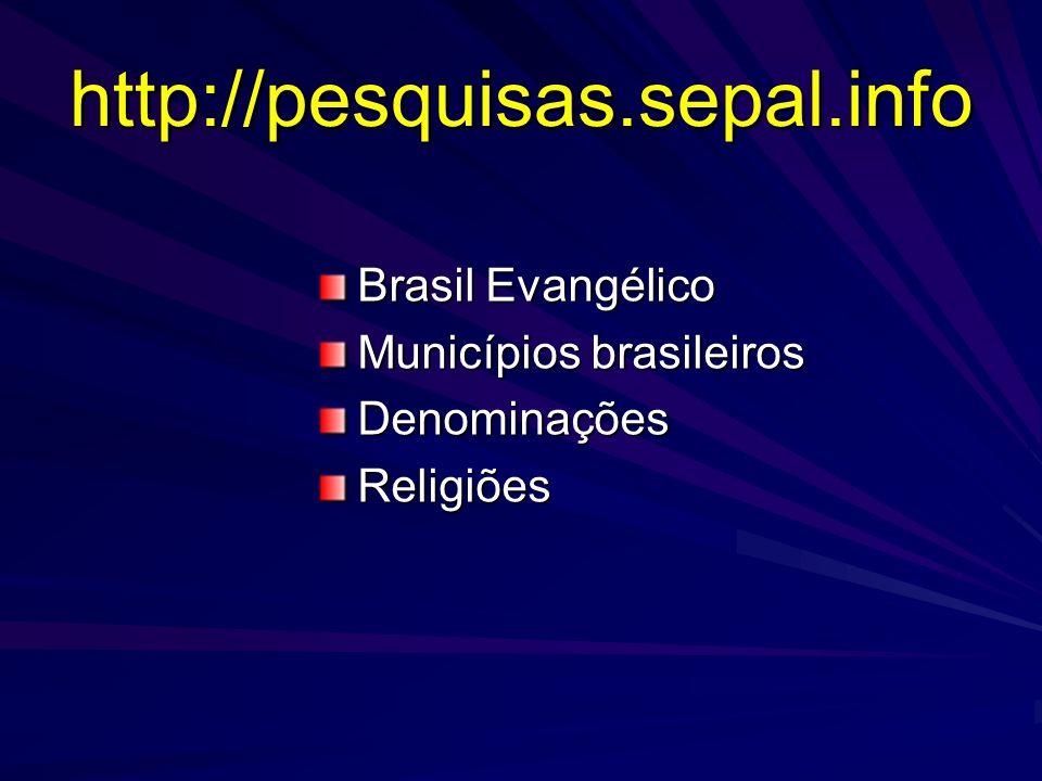 http://pesquisas.sepal.info Brasil Evangélico Municípios brasileiros