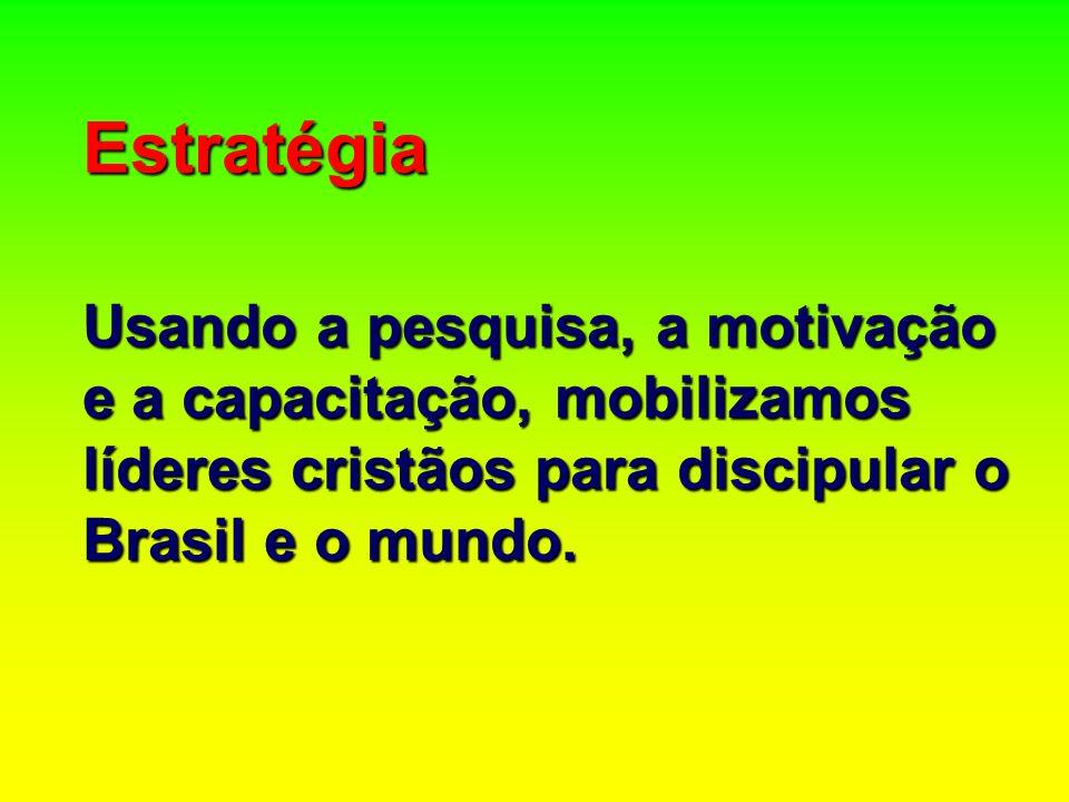 Estratégia Usando a pesquisa, a motivação e a capacitação, mobilizamos líderes cristãos para discipular o Brasil e o mundo.