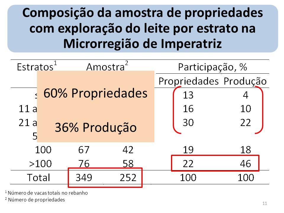 Composição da amostra de propriedades com exploração do leite por estrato na Microrregião de Imperatriz