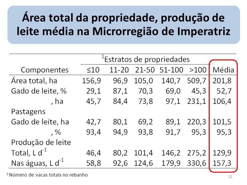 Área total da propriedade, produção de leite média na Microrregião de Imperatriz