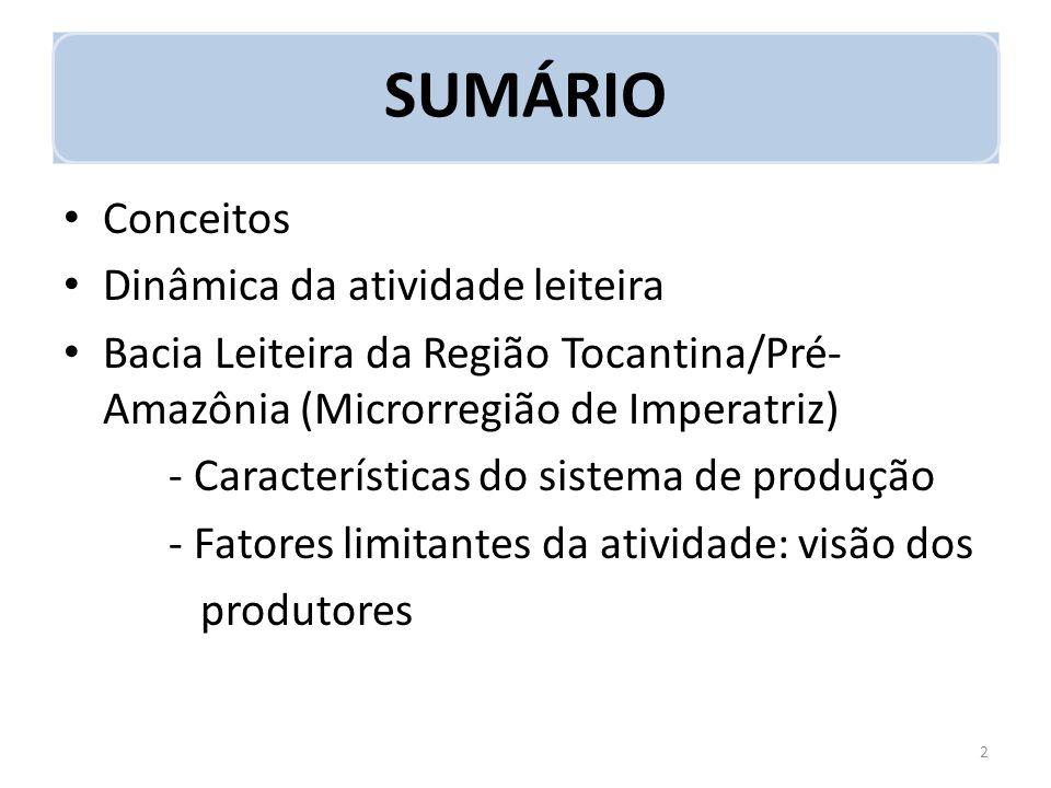 SUMÁRIO Conceitos Dinâmica da atividade leiteira