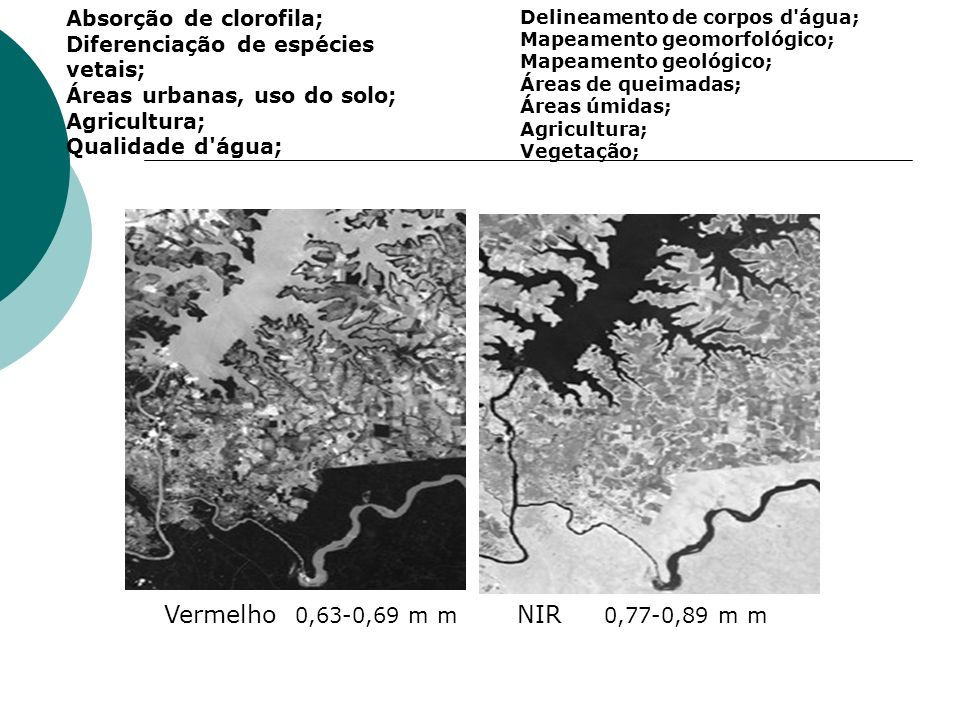 Vermelho 0,63-0,69 m m NIR 0,77-0,89 m m Absorção de clorofila;