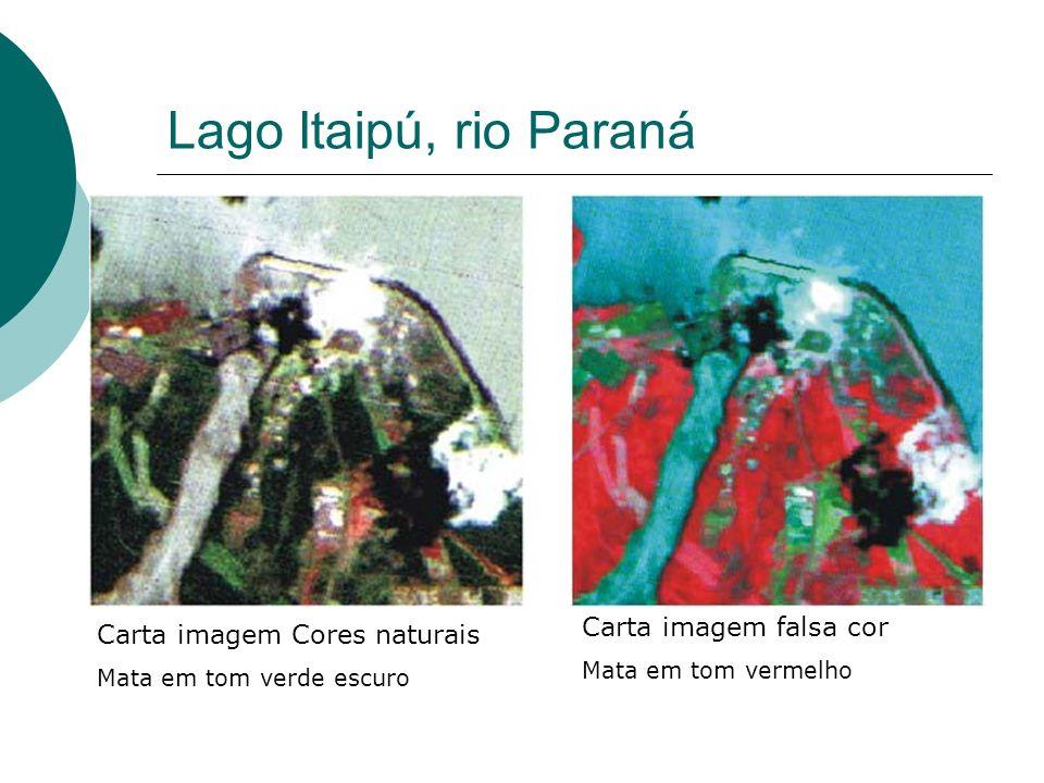 Lago Itaipú, rio Paraná Carta imagem falsa cor
