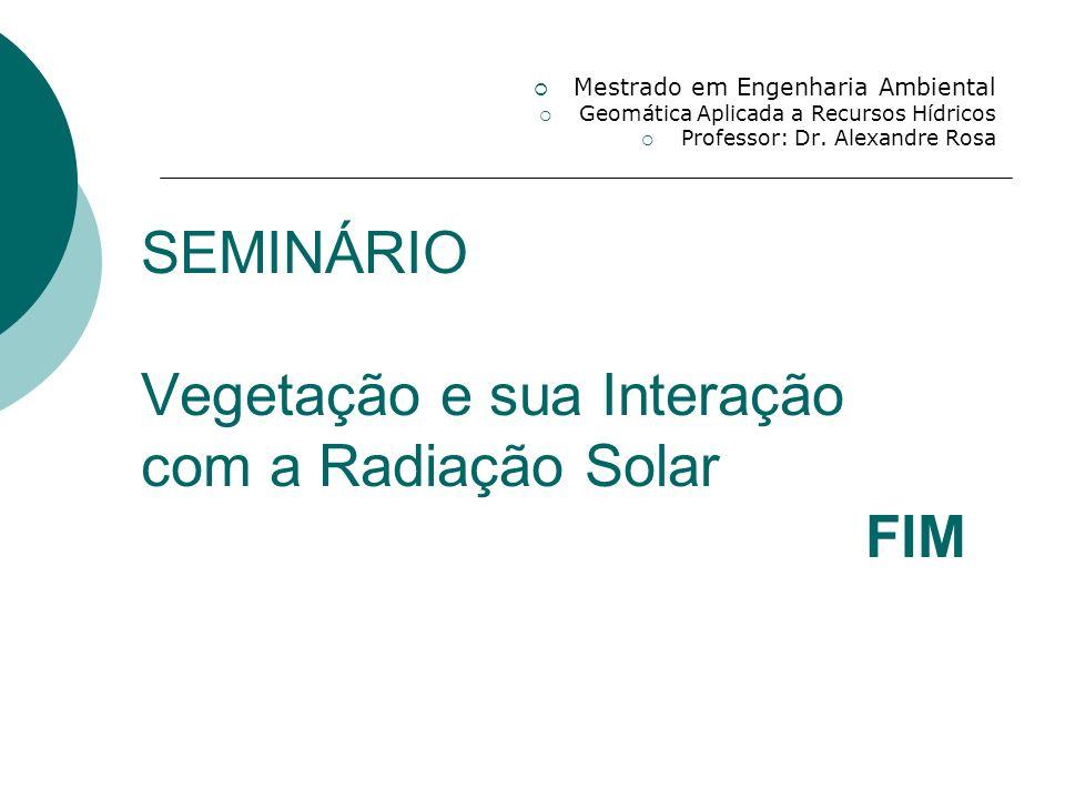 SEMINÁRIO Vegetação e sua Interação com a Radiação Solar FIM