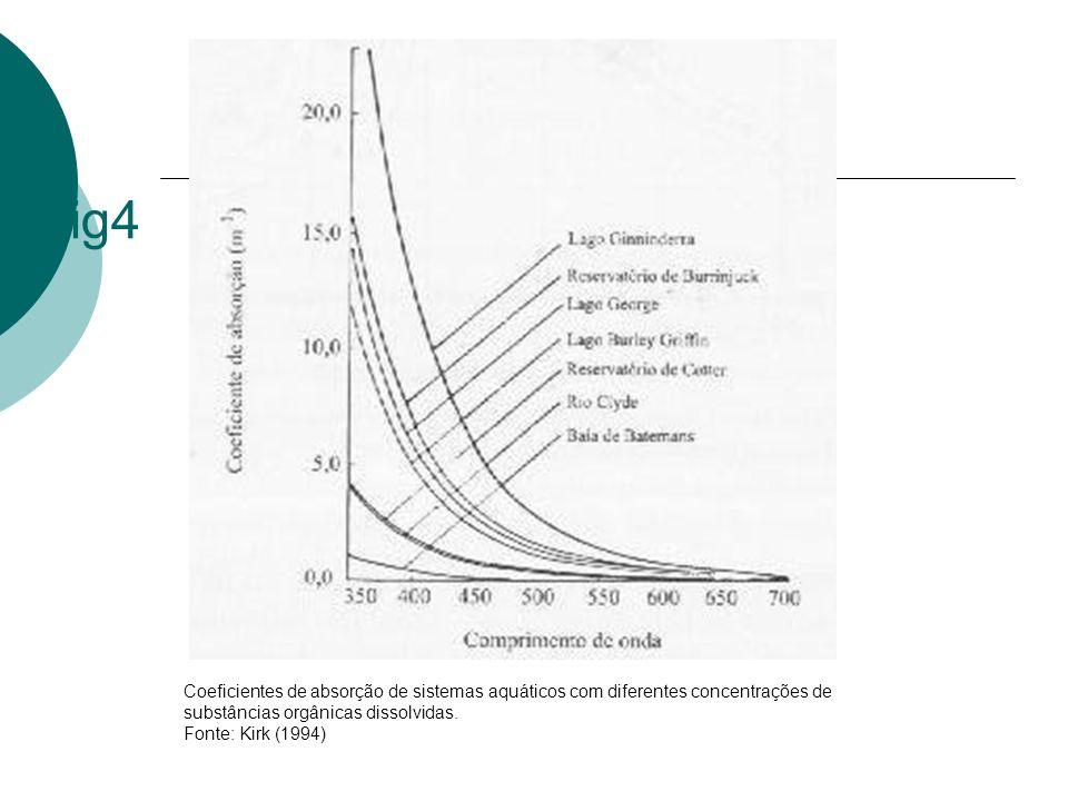 fig4 Coeficientes de absorção de sistemas aquáticos com diferentes concentrações de substâncias orgânicas dissolvidas.