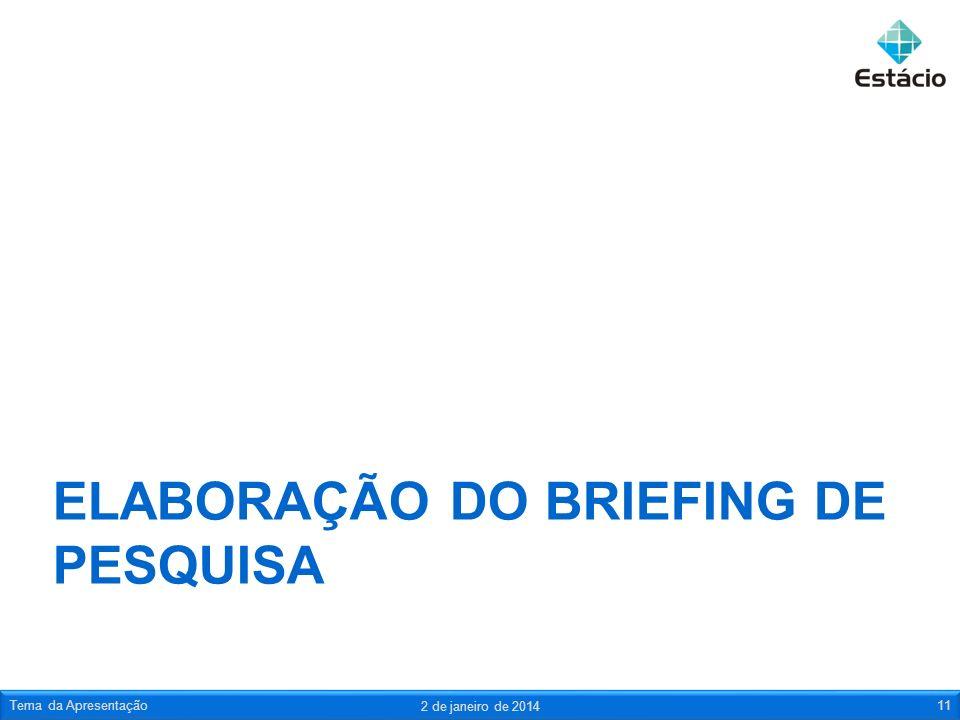 ELABORAÇÃO DO BRIEFING DE PESQUISA
