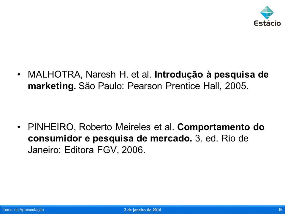 MALHOTRA, Naresh H. et al. Introdução à pesquisa de marketing