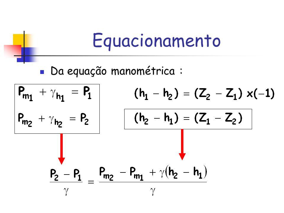 Equacionamento Da equação manométrica :