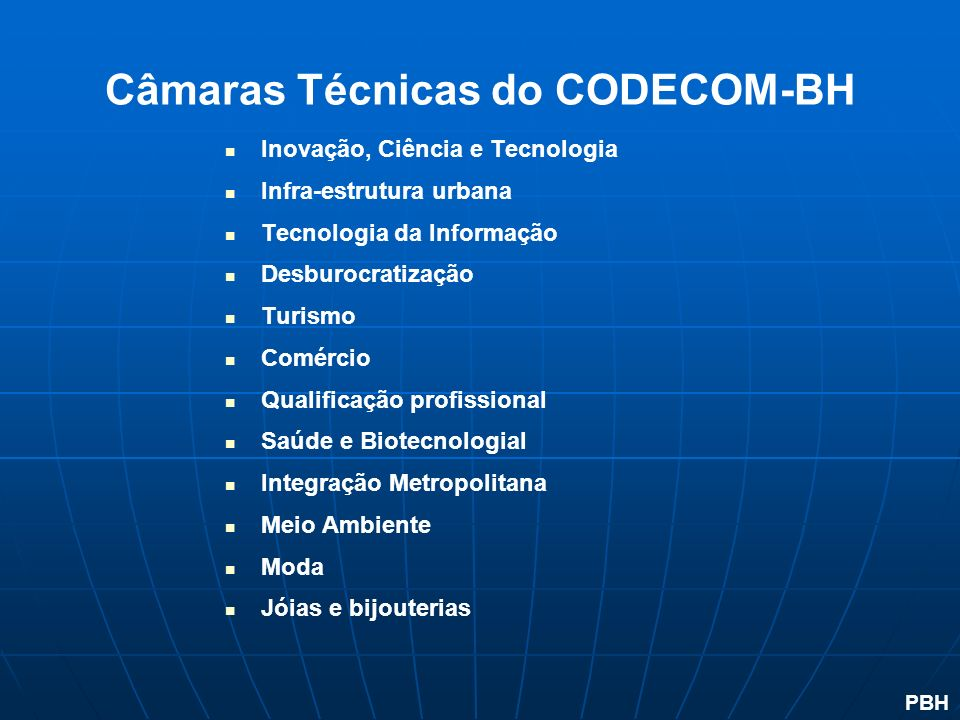 Câmaras Técnicas do CODECOM-BH